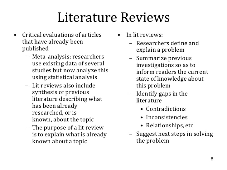how to present a literature review